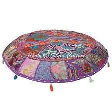 Indian Handmade cotton Ottoman Floor Cushion Cover Patchwork Embroidered Pouf