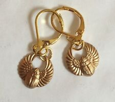 EGYPTIAN SCARAB BEETLE DETAILED RAW BRASS HANDMADE EARRINGS -PIERCED EARS