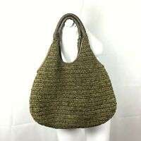 Banana Republic Leather woven hobo bag Army Green Brown