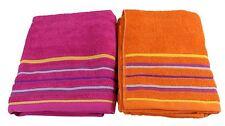 2 X RAYURES BRILLANT frais coton orange rose absorbant plage serviettes 75 150cm