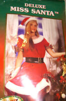 Deluxe Miss Santa Mrs Santa Claus Dress Christmas Holiday Costume Standard OSFM