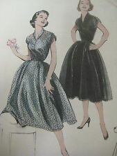 Vintage 50's 6935 SOFT-GATHERED SHIRRED SLEEVES DRESS Sewing Pattern Women Sz 12