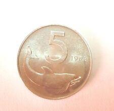 MONETE REPUBBLICA ITALIANA 5 LIRE DELFINO 1968 FDC 8/17