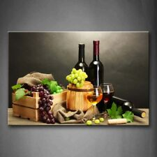 Framed Grape Wine Bottle Cup Canvas Print Wall Art Painting Fruit Foods Picture