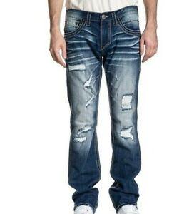 Affliction Men Jeans Size 42 x 34 Ace Fleur Othello Wash Straight Leg Distressed