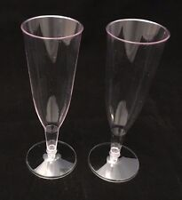 100 - CLEAR PLASTIC CHAMPAGNE GLASSES FLUTES - PARTY