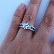 Genuine Solid 9ct White Gold Engagement Wedding Eternity Ring Simulated Diamonds