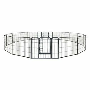 ALEKO Folding Pet Playpen 16 Panel Dog Kennel Exercise Cage Fence 32X24 In