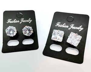 2 Pairs Round Square mens stud earring clear Boyfriend father husband gift