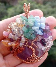 Amethyst Stone Pendant Tree of lif 7 Chakra Reiki Healing Amulet
