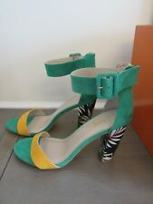 Women's Green Yellow Tropical Floral Block Heel Sandal Size 8.5 NWB