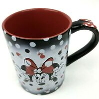 Disney Parks Minnie Mouse Ceramic Coffee Mug Cup Black Red Polka Dots 3D