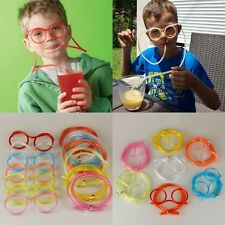 Novelty Flexible Soft Glasses Silly Drinking Straw for Kids Birthday Party.