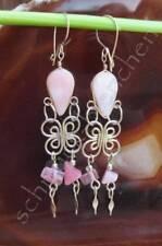 Orecchini Opale rosa alpaca argento INDIANA INCA MAYA Accessorio INDIANO 01