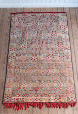 Vintage Retro Geometric Moroccan Berber Kilim Tribal Rug 234cm x 131cm