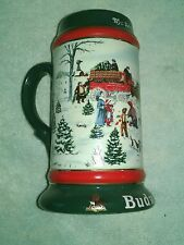 Budweiser Beer Mug 1991  CLYDESDALE Holiday Beer Stein Anheuser-Busch