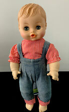 "Vintage Horsman Boy Doll 13"" Orig. Clothes Rubber Molded Hair Drink & Wet Baby"