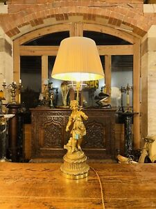 Large Baroque Style Gilded Cherub Table Lamp, Rewired