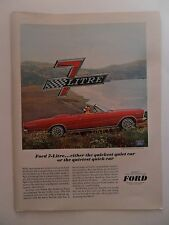 1965 Print Ad Ford Galaxie 7 Litre Sports Car Automobile ~ Quickest and Quietest