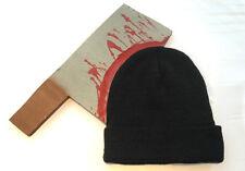 Bloody Cleaver Thru Head Beanie Black Hat Cap Funny Costume Knife Joke Gag Prank