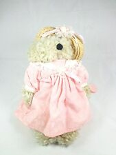 Vintage Animated Musical Berkeley design 1992 Teddy Bear pink dress wicker hat