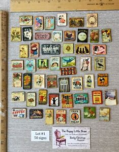 HUGE LOT #1 Dollhouse Miniature Signs CLEARANCE antique vintage ads 1:12 home