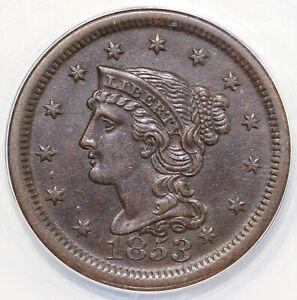 1853 1c Braided Hair Large Cent ANACS AU 50