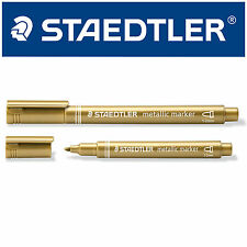 STAEDTLER METALLIC MARKER PEN GOLD COLOUR 1.2mm FOR ARTS & CRAFTS & CARD MAKING
