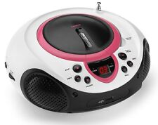 Tragbarer CD-Player MP3 USB Anschluss Radio Tuner AUX LED Lenco SCD-38 USB pink