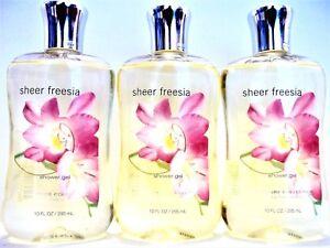 Bath Body Works SHEER FREESIA Shower Gel, 10 fl oz, NEW, x 3