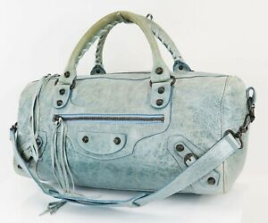 Auth BALENCIAGA Twiggy Blue Leather 2-Way Hand Shoulder Tote Bag Purse #38583