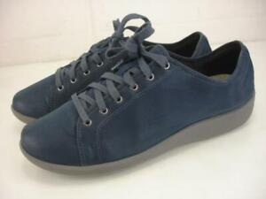 Women's 9.5 W Clarks CloudSteppers Sillian Pine Sneakers Shoes Blue Oxford Wedge