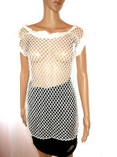 Womens White Sheer Lace Fishnet Fetish Evening Party Distress Blouse One sz AI58