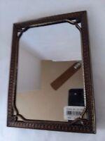 "Hollywood Regency Look Art Deco Bronze Tone Vanity Mirror 4 1/2"" x 6 1/2"""