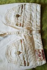 TRUE RELIGION JOEY twisted WHITE distressed LOW RISE jeans womens size 28