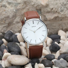Fashion BRAND Geneva Women Dress Watches Leather Band Analog Quartz Wrist Watch Brown