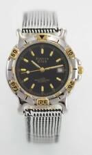 Sierra Club Black Men's Stainless Steel Silver Gold Plaid Leather Quartz Watch