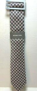 MICHAEL KORS Purple Diagonal Stripe Pattern Pink Black 100% Silk Neck Tie **NEW