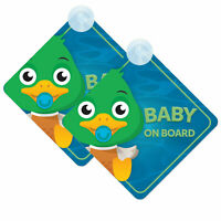 Baby On Board Car Signs (2pcs) for Boy/Girl Twin Pack of Baby Duck Design