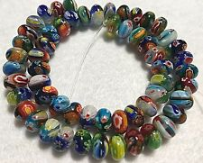 Millefiori Glass 10x6mm Rondelles, Approximately 55 Beads per Strand