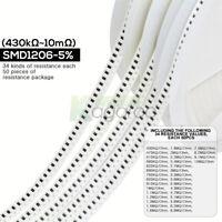 34 Values(Each 50PCS) (0Ω to 10MKΩ) ±5% SMD0201 0402 0603 0805 1206 Resistors