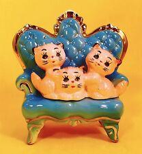 PASTEL PINK Kitten 1950s Vintage Cat Sofa Couch Figurine Retro Sale POWDER BLUE