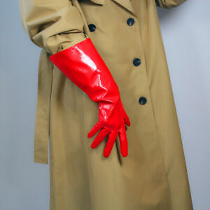 TECH LONG GLOVES Unisex Kelly Green Faux Leather 38cm Wide Balloon Puff Sleeves