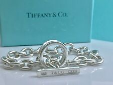 "Tiffany & Co 1837 Silver Toggle Bar Circle Rolo Bangle 8""L Bracelet 38g  18616A"