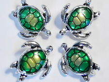 4 - 2 HOLE SLIDER, CONNECTOR BEAD ENAMEL SEA TURTLE LOGGERHEAD ANTIQUED SILVER