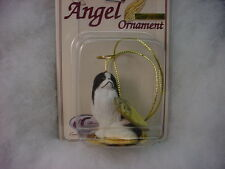 Japanese Chin dog Angel Ornament Resin Hand Painted Figurine Christmas Black B&W