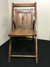 Vintage Antique Toddler / Child Oak Slat Folding Chair Home Decor Original Oak