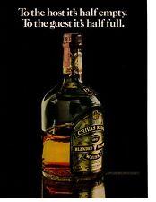 1975 Chivas Regal Blended Scotch Whisky Host Half Empty Guest Half Full Print Ad