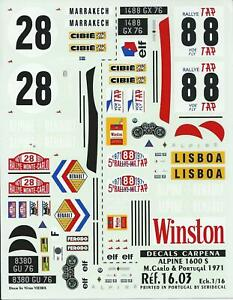 Carpena decals for cars 1/16 - Alpine 1600S Le mans & Portugal 1971  (Ref 1603)