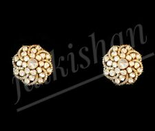 Victorian Polki Diamond 925 Sterling Silver Earring Handmade Jewelry 30 X 30 MM